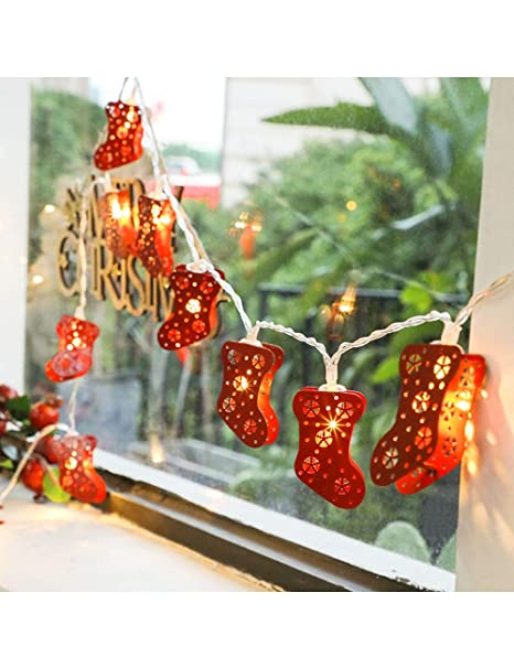 cukke christmas stocking led string lights socks fairy string lights with 20 warm white led