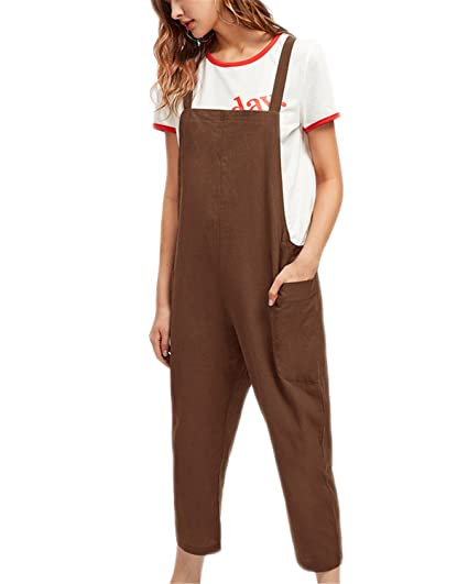 0ea8c1f8668f Amazon.com  Kidsform Women Jumpsuits Casual Sleeveless Overalls Baggy Bib  Pants Plus Size Pocketed Romper  Clothing