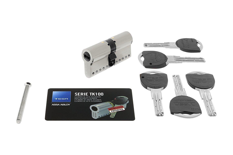Tesa Assa Abloy MK154040N, Cilindro de Alta Seguridad Patentado TK100 de leva corta, 40x40mm, Niquelado: Amazon.es: Bricolaje y herramientas