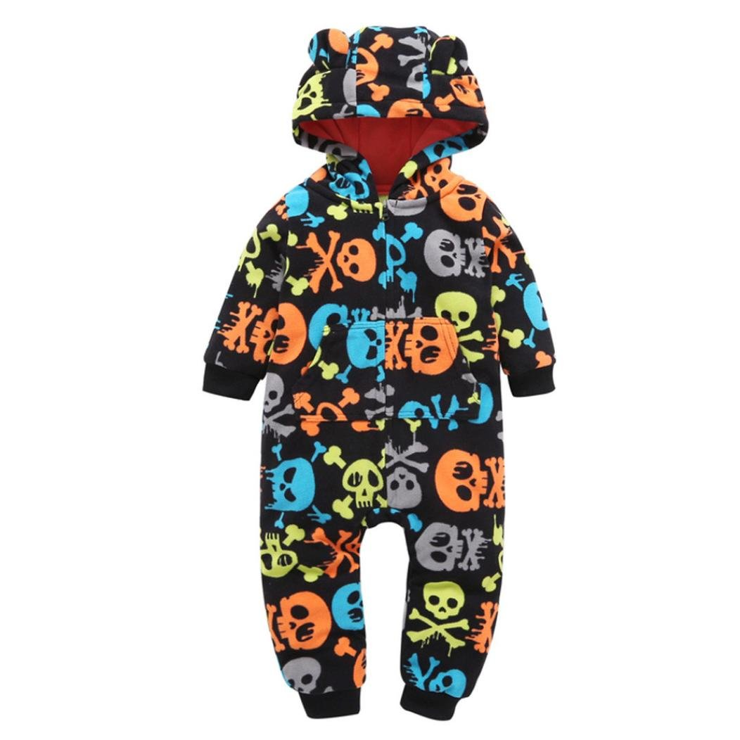 Perman Kids Baby Girls Boys 2PCS Long Sleeve Skull Hooded Romper Jumpsuit Outfit PM-1023