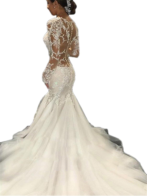 5d8c32dc Top1: Annxrose Women\'s Long Sleeve Sheer Scoop Beaded Lace Appliques Tulle  Mermaid Wedding Dress Bridal Gown