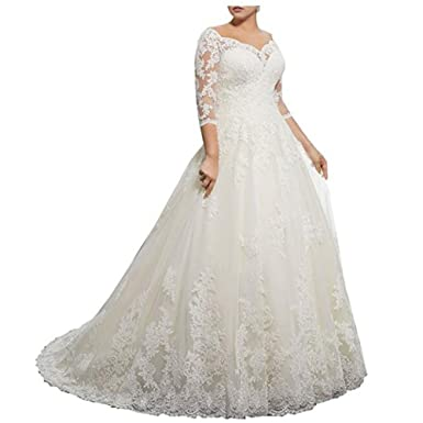 caa0e7d2fb7b Molixin Women's Long Sleeves Plus Size Wedding Dresses Off Shoulder Bridal  Gowns Ivory,2