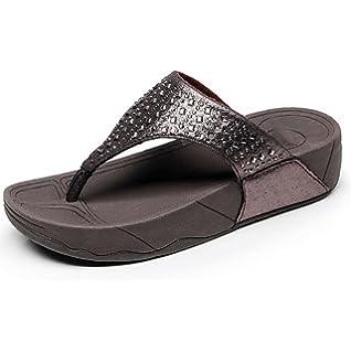 Frau Sommer Dicke Sohlen Pantoffeln,Leinwand Flachen Boden Rutschfest Gefütterte Hausschuhe-B Fußlänge=22.3CM(8.8Inch)