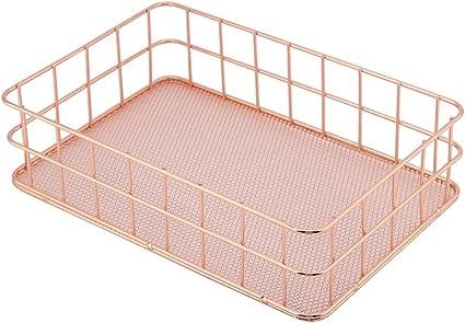Big Hztyyier Rose Gold Storage Basket Metal Mesh Office Holder Suministros Mesa Escritorio Caj/ón Organizador de Maquillaje Bandejas para joyer/ía Papeler/ía cosm/ética