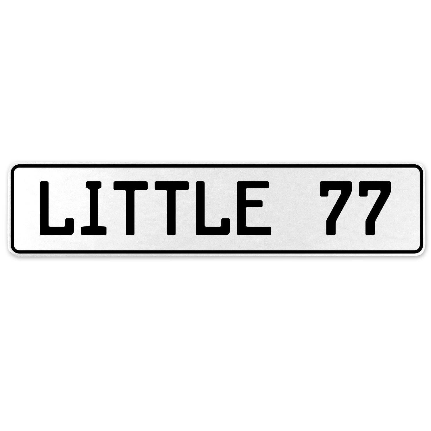 Vintage Parts 556357 Little 77 White Stamped Aluminum European License Plate