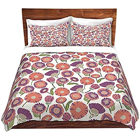 DiaNoche Designs Pretty Florals Cover Brushed Twill Twin King 7 Queen Duvet Sham Set
