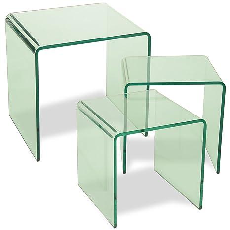 DonRegaloWeb-Set di 3 tavolini di cristallo quadrato stile moderno ...