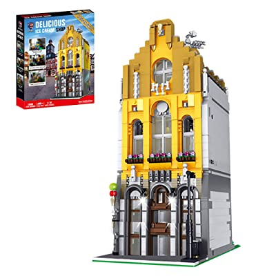 WOLFBSUH 2605Pcs 3D Steet View Ice Cream Shop MOC Building Blocks DIY Construction Model with Light: Toys & Games