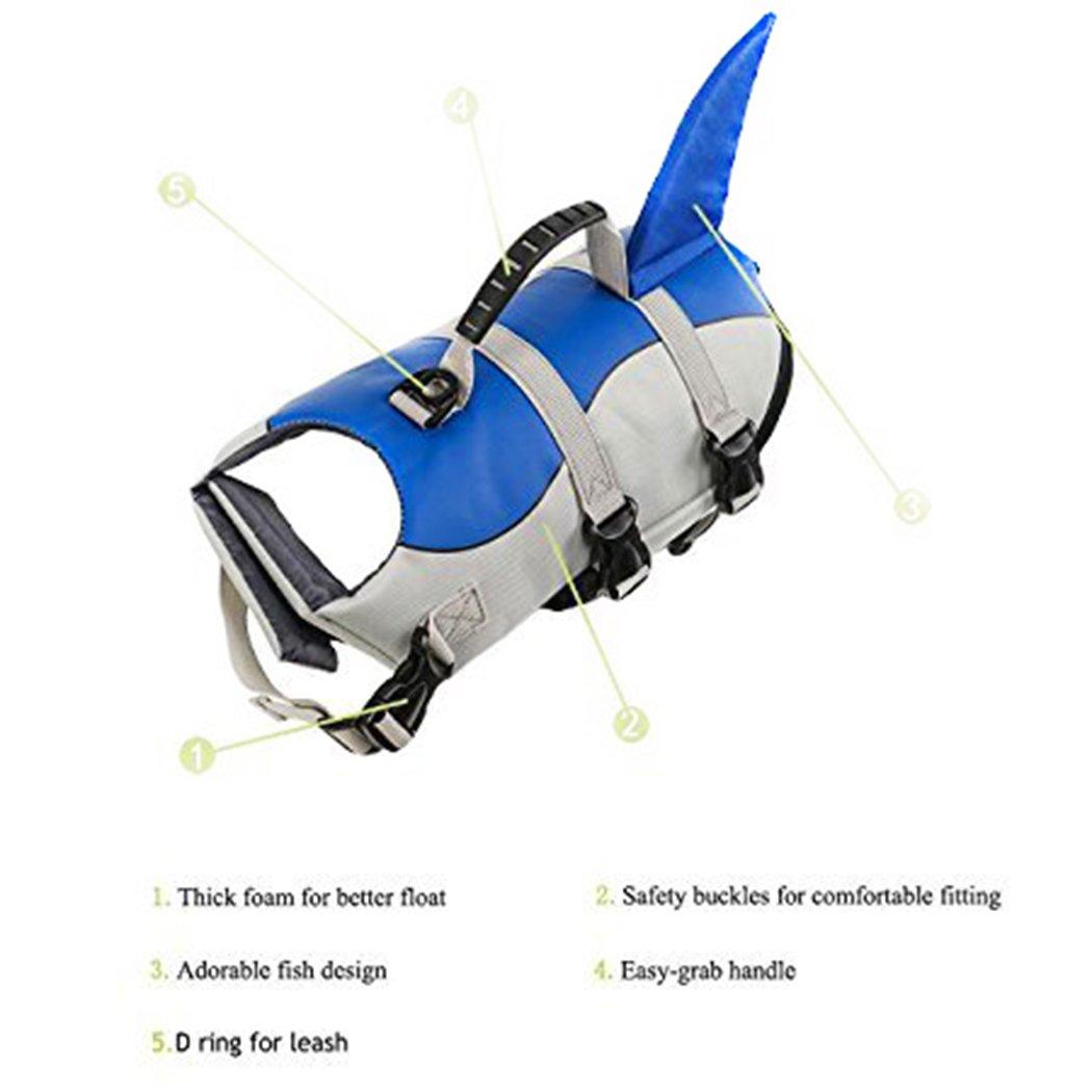 Xiaoyu Chaleco Salvavidas para Perros, Chaleco Salvavidas Ajustable para Mascotas, Salvavidas para Mascotas, Chaleco Salvavidas para Nadadores Principiantes ...