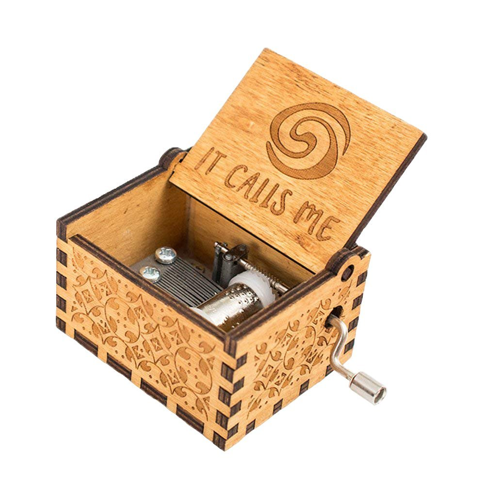 FnLy 18 Note Engraved Wooden Moana Thame Music Box,Antique Carved Hand Crank Musical Box Gift,Brown