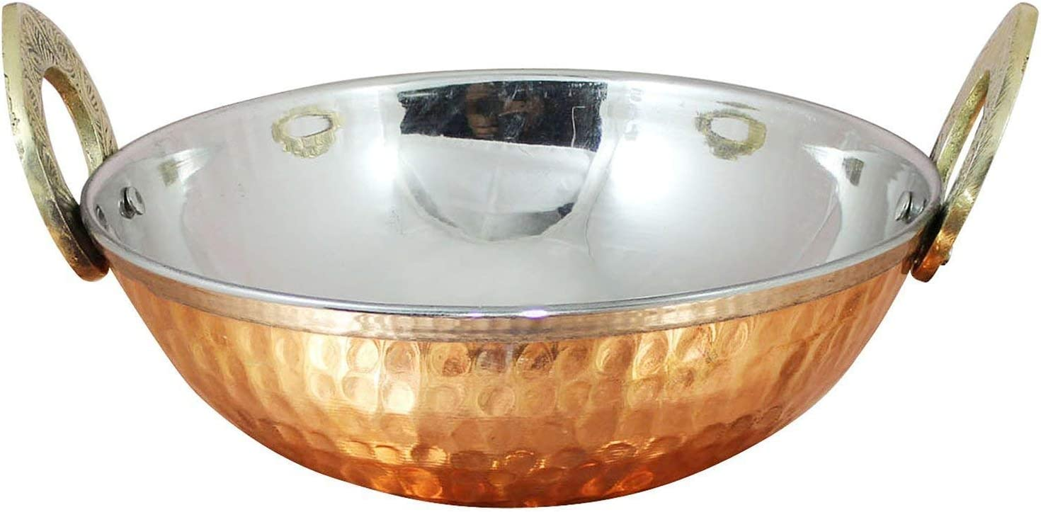 Stainless Steel Hammered Copper Serveware Accessories - Karahi Pan Bowls for Indian Food, Dia 5.2 Inches
