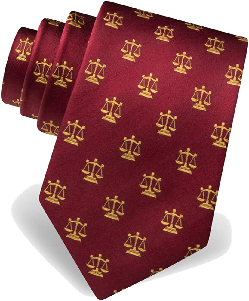 Men's 100% Silk Legal Scales of Justice Lawyer Law Tie Necktie
