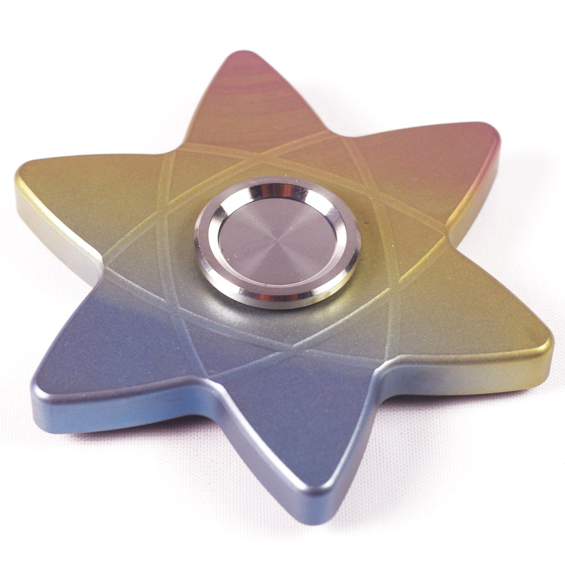 FREELOVE Rainbow Whirlwind Fidget Spinner,Titanium Alloy,Stainless Steel Finger Cover with British Tungsten Steel Beads R188 Bearing,No Edges/Corners No Hurt,Precise EDC Toy (Hexagonal Rainbow) by FREELOVE (Image #1)