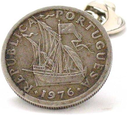Portugal Coin Tie Tack Lapel Pin Flag Lisbon Argave terno joalheria Sintra moeda bandeira