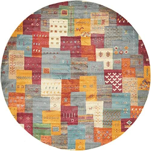 Unique Loom Native Collection Tribal Modern Kids Multi Round Rug 8 2 x 8 2