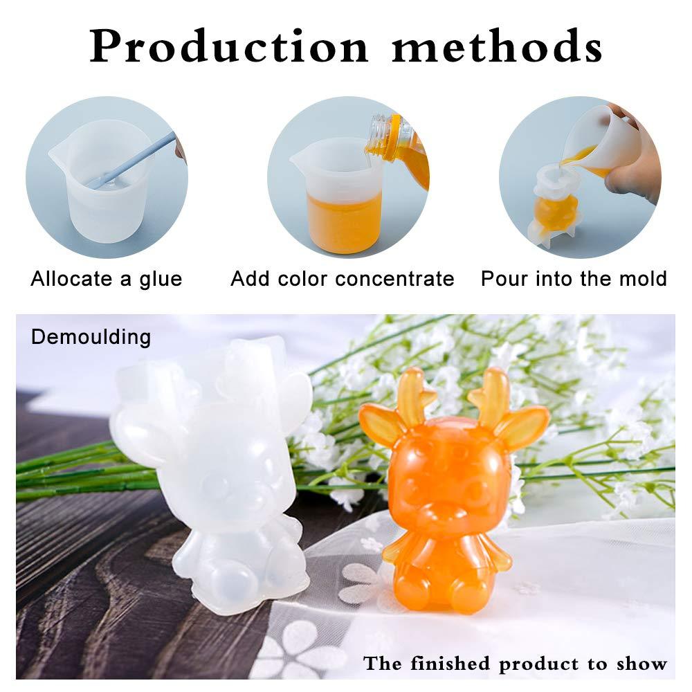 Yotako modelos de resina de animales 7 unidades de modelos de resina epoxi de silicona con 1 taza de medir de 100 ml y 1 varilla de silicona para manualidades de resina hechas a mano