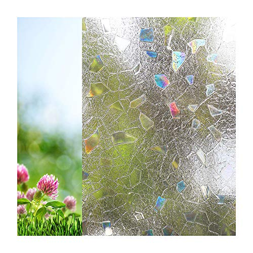 Xindinyi Stained Glass Frosted Static Cling Glass Non Adhesive Decorative Window Film for Office Home Living Room Bathroom Kitchen (17.3x78.7, Style-Splinter)