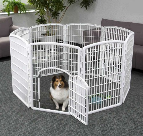 Indoor Dog Pens (IRIS 34'' Exercise 8-Panel Pet Playpen with Door, Frosty White)