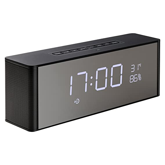 Abuzhen Wireless Speaker, Alarm Clock, Digital FM Radio, 3.5mm Aux Line-in TF Card Play, Thermometer, Large Mirror LED Dimmable Display for ...