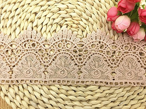 9CM Width Europe Crown Pattern Inelastic Embroidery Lace Trim,Curtain Tablecloth Slipcover Bridal DIY Clothing/Accessories.(2 Yards in one Package) (Pink)
