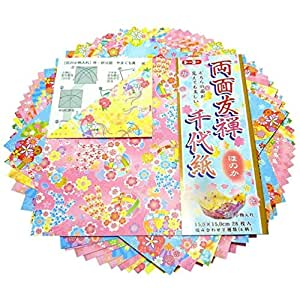 28 Sheets Japanese Origami Paper Yuzen Chiyogami Blue Ocean Wave 6 Inches S-3593