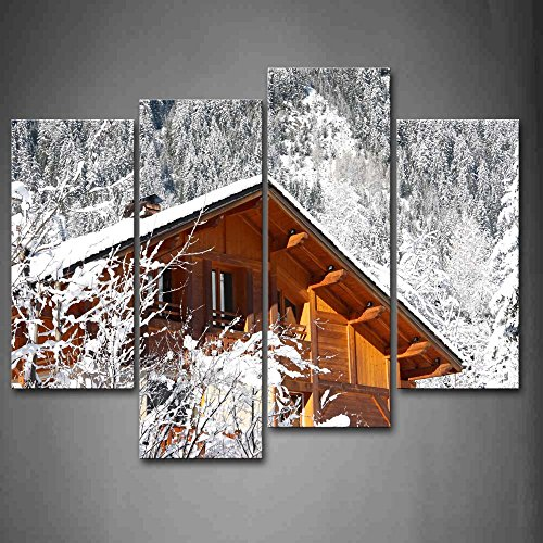 First Wall Art - Cabin In White Forest Winter Wall Art Painting The Picture Print On Canvas City Pictures For Home Decor Decoration Gift by Firstwallart