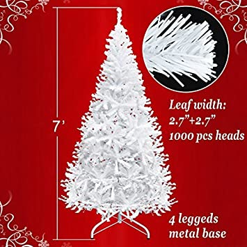 white artificial christmas tree 7 ft spruce metal stand folding realistic pine 1000 - Amazon Christmas Tree Stand
