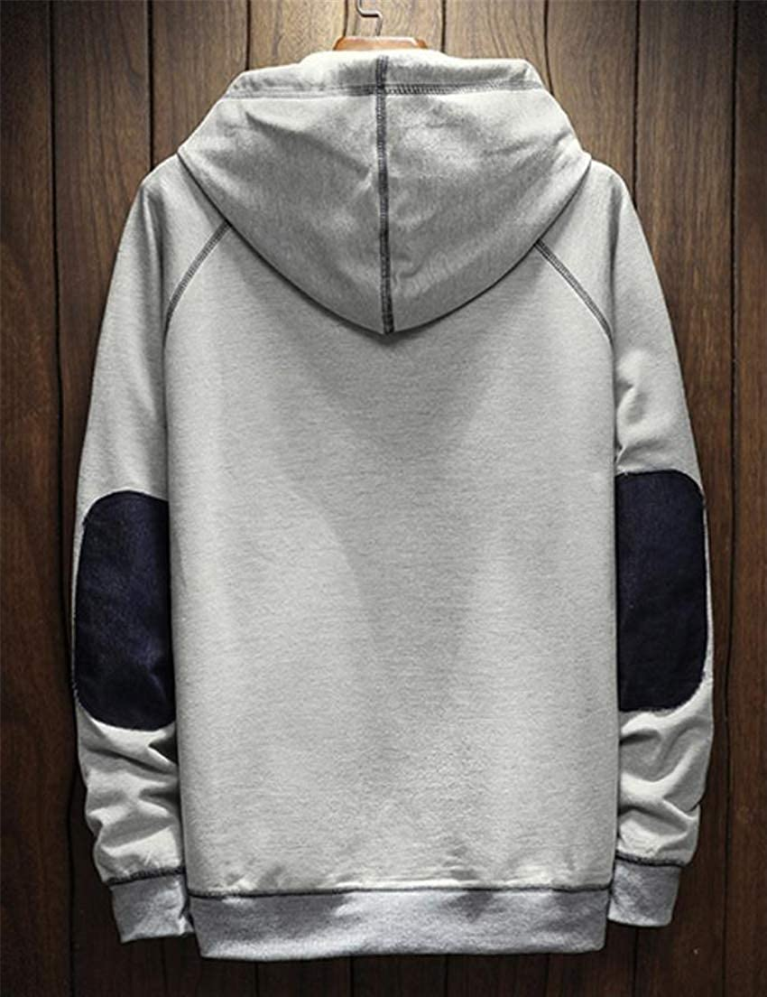 Cromoncent Mens Hooded Pullover Contrast Color Sports Tops Long Sleeve Sweatshirts