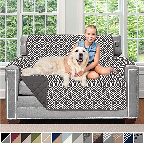 Sofa Shield Original Patent Pending Reversible Loveseat Protector for Seat Width up to 54 Inch, Furniture Slipcover, 2 Inch Strap, Couch Slip Cover Throw for Pets, Dogs, Love Seat, Diamond Charcoal (Cheap For Online Sofas)