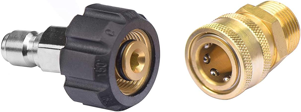 """Female M22 x 3//8/"""" Male Plug Quick-Connect Connector for Pressure Washers 14mm"""