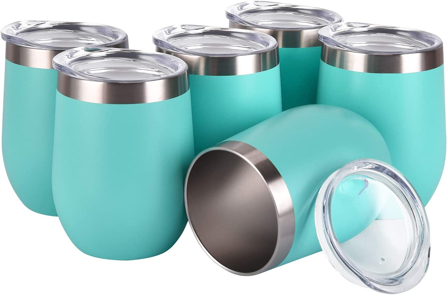 6 Pack 12Oz Stemless Wine Tumbler Wine Glasses Set Stainless Steel Cups with Lid Set of 6 for Picnic Camping Party or Family Daily Use Shatterproof - BPA Free (Aqua blue, 12Oz)