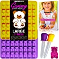 LARGER (1 INCH) more DETAILED Gummy Bear Molds with 2 LIQUID DROPPERS bonus RECIPE EBOOK and WARRANTY Premium BPA Free Silicone Gummie Maker Mold for Gelatin Candy Chocolate Ice by MOLDS 4 U (2 Pack)
