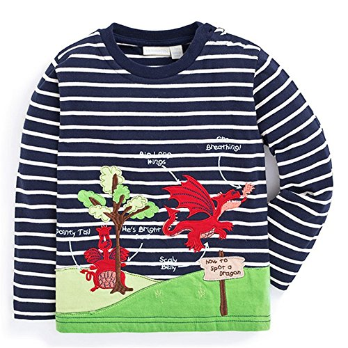 IsabelaKids Baby Boy's Long Sleeve Cotton Cartoon T-Shirts Pullover Sweatshirts (5T, Dragon) ()