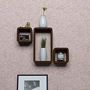 Onlineshoppee MDF Cube Floating Wall Shelves Set of 3