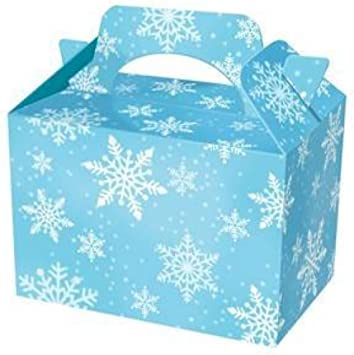Mustbebonkers 24 X Snowflake Design Party Meal Box Childrens Kids Carry Food Birthday Party Loot Bag Box Light Blue With Frozen Snowflakes Design