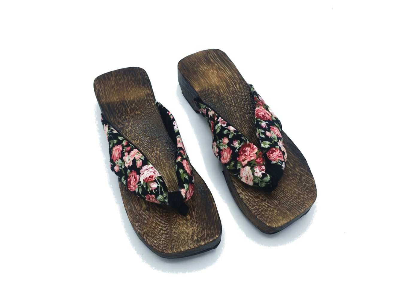 Womens Japanese Style Wooden Floral High Heal Geta Sandals (39(US8.5), Floral Print-1)