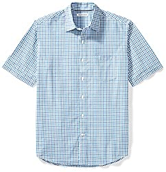 Amazon Essentials Men's Regular-fit Short-sleeve Plaid Shirt, Blue Plaid, Large