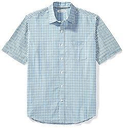 Amazon Essentials Men's Regular-fit Short-sleeve Plaid Shirt, Blue Plaid, Large