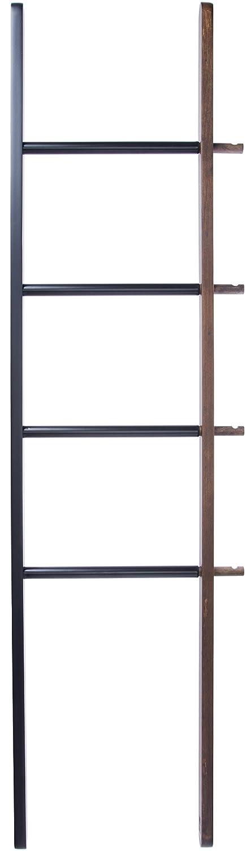 Umbra Hub Floor Length Mirror with Storage Rack, Modern Black Rubber Rim and Solid Wood Storage Ladder, Black/Natural Finish 358375-045