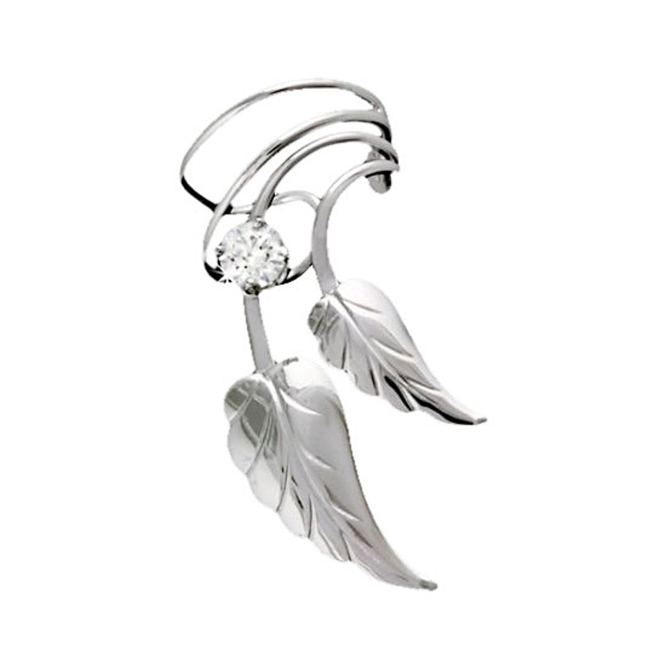Sterling Silver Right Only Double Leaves With Cubic Zirconia Ear Cuff Wrap