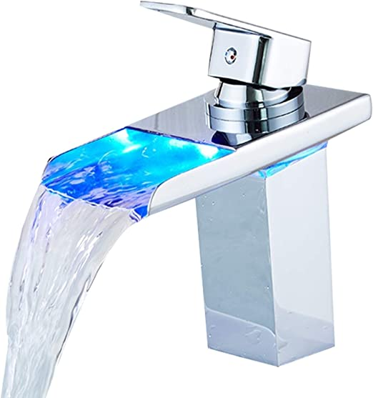 Temperature Sensing 3 Colors Changing LED Light Water Faucet Tap Kitchen Bathroom Sink Water Basin Attachment