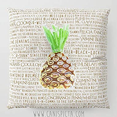 Penelope Psych Floor Pillow Square TV Show Shawn Gus Quote Decorative Television Fan Cover Pop Culture Humor Funny Brown Art Pineapple Cushion Green