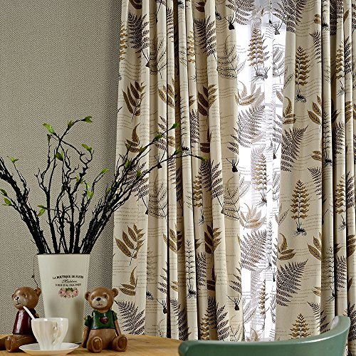 Jaoul Botanical Fern Leaves Linen Blackout Kids Curtains, Grommet Top Thermal Insulated Room Darkening Curtains Drapes for Living Room, 52 by 96 Inch, Beige/Brown (1 Panel)