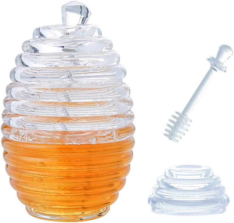 Rolin Roly Bee Honey Pot Jar with Spoon Classic Dipper Crystal Jam Jar Honey Jar Container Clear Honey Pot Honey Jar