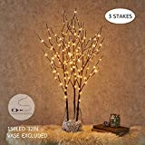 lighted tree branches Hairui Pre Lit Artificial Brown Twig Branch with Fairy Lights 32in 150 LED Plug in Lighted Willow Branch for Christmas Home Decoration Indoor Outdoor Use 3 Pack (Vase Excluded)