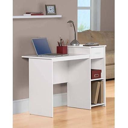 Student Dorm Home Office Laptop Computer Modern Wood Workstation Desk White