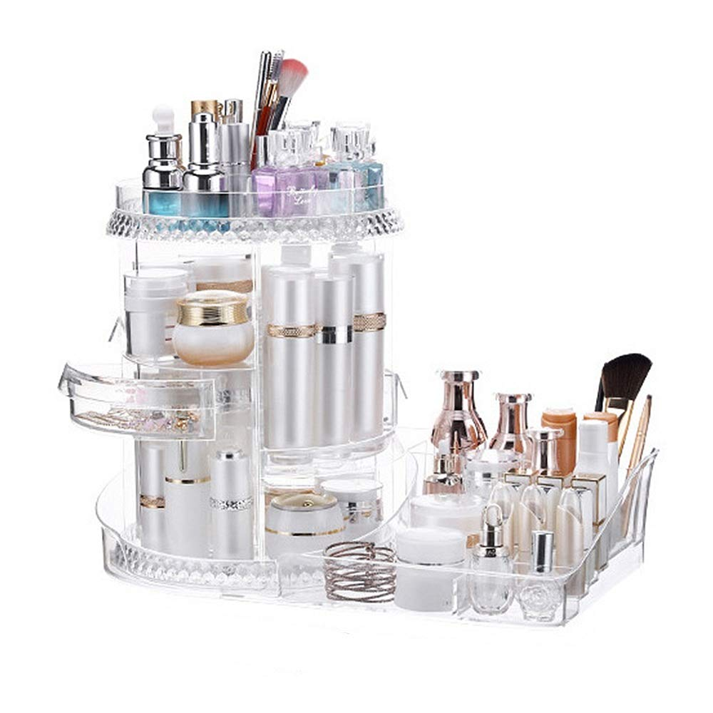 Jewellery Storage Box Clear 360 Degree Rotation Round Cosmetic Organiser Makeup Display Storage Stand Holder Box Jewelry Perfumes Lipsticks Divider Container Large Capacity For Dresser Bedroom Bathroo