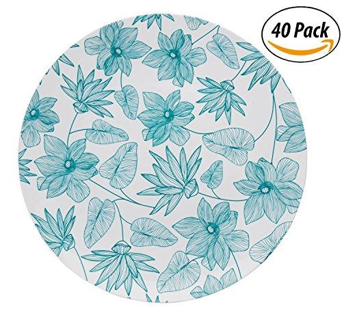Trendables Premium 10.25 inch. Disposable Plastic Plates, Food Grade Plastic Dinner Plates - Bella Design - 40 Pack