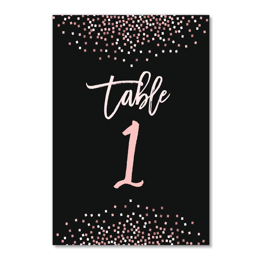 Pink Confetti Table Numbers 25 Pack Reserved Seating Banquet Accessories Single Sided 4