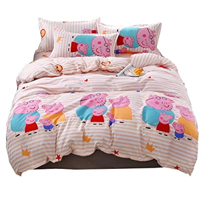 HOLY HOME Kid's Bedding, Cartoon Pig Duvet Cover Set 4 Piece Birthday Gift Bedclothes (Twin, Orange Red): Home & Kitchen